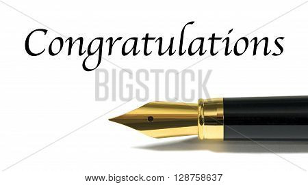 Congratulations card with golden fountain pen isolated on white