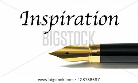 Inspiration concept with golden fountain pen isolated on white