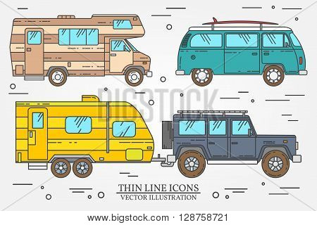 Set Of Tourist Bus, Suv, Trailer, Jeep, Rv Camper Trailer, Traveler Truck.  Summer Trip Family Trave