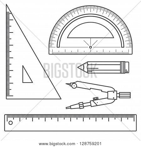 Set Of Measuring Tools: Rulers, Triangles, Protractor, Pencil And Pair Of Compasses. Vector School