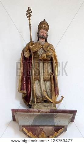 PRIMISWEILER, GERMANY - OCTOBER 20: Statue of Saint Clement, church of St. Clement in Primisweiler, Germany on October 20, 2014.