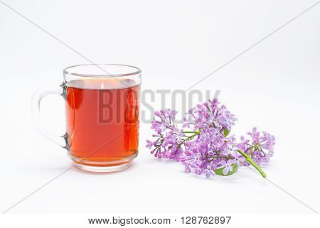 black tea with lilac on a white background