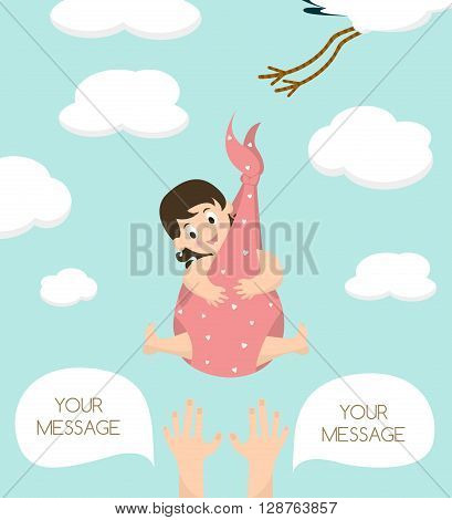 Stork carrying a cute baby girl. Newborn baby. Vector illustration with your text place