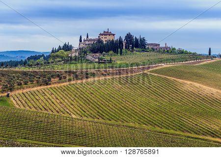 Val d'Orcia farmhouse Tuscany Italy. Spring time.