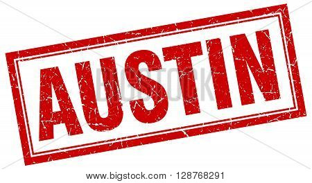 Austin Red Square Grunge Stamp On White