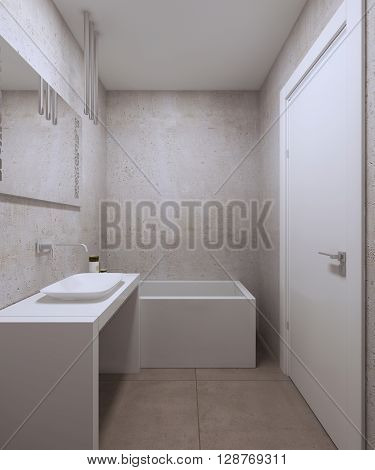 Minimalist bathroom design. White furniture wide mirror textured plaster on the wall white door and white ceiling. 3D render