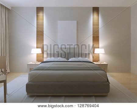 Modern master bedroom design. Dressed double bed with lether headboard white walls with decorative niche of light wood texture near to bedside table. 3D render