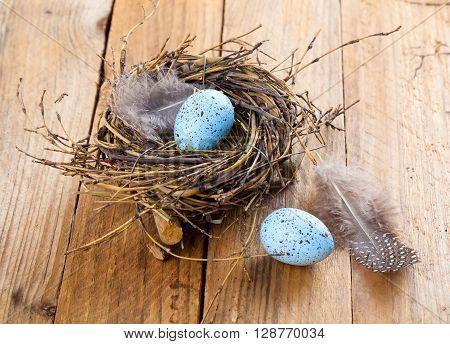 egg in birds nest on wooden background