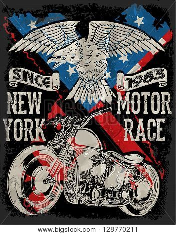 Motorcycle typography; vintage motor; t-shirt graphics; vectors