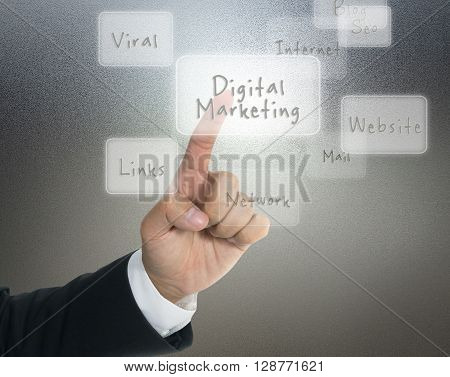 Digital marketing concept with touch screen buttons