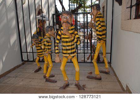 ANTALYA/TURKEY-OCTOBER 18, 2014 : The Daltons, Lucky Luke,and Rantanplan at the Toy Museum's Jail. October 18, 2014-Antalya/Turkey