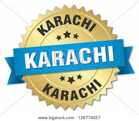 Karachi round golden badge with blue ribbon