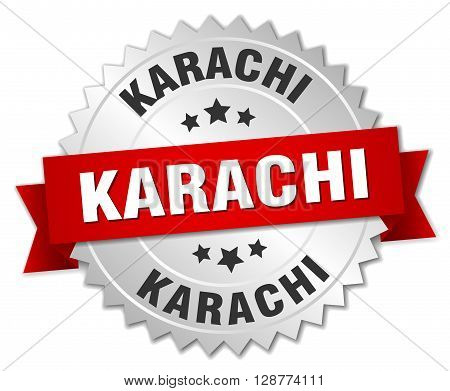 Karachi round silver badge with red ribbon