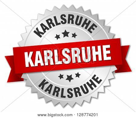Karlsruhe round silver badge with red ribbon