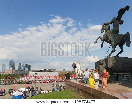 Moscow - May 6 2016: Mezhdunarony social-patriotic Poyekt our Star of the Great Victory in Victory Park on Poklonnaya Hill and many people gathered at the festival May 6 2016 Moscow Russia