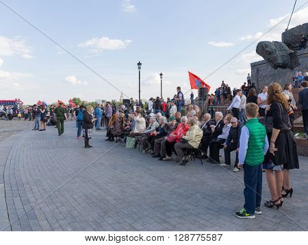 Moscow - May 6 2016: Mezhdunarony social-patriotic Poyekt our Star of the Great Victory in Victory Park on Poklonnaya Hill and war veterans gathered for a holiday May 6 2016 Moscow Russia