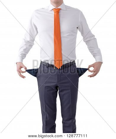 Unemployment concept with businessman showing empty pockets isolated on white background