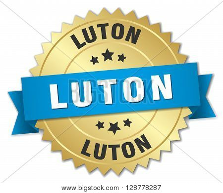 Luton round golden badge with blue ribbon