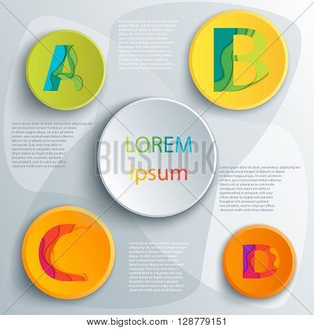 Vector elements for infographic. Template for diagram, graph, presentation and chart. Business concept with 4 options, parts, steps or processes. Abstract background. ABCD icons template.
