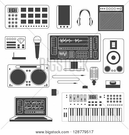 Set of Musician digital equipment. Vector Musician workspace elements in monochrome thin line style. Computer, headphones, sequencer, loudspeakers, microphone and combo isolated on white background.
