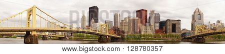 PITTSBURGH - MAY 3: Pittsburgh Pennsylvania Downtown City Skyline and the Allegheny River on May 3, 2016