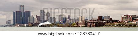 The buildings and downtown city skyline of Detroit Michigan