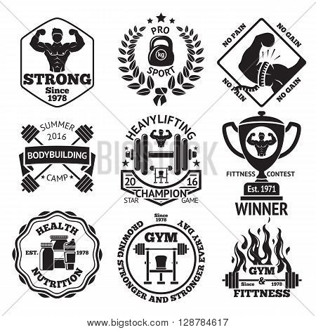 Set of Bodybuilding and Fittness labels - bodybuilder, dumbbell, strong hand, barbells, goblet, laurel, sport nutrition, another bodybuilding stuff. Vector illustration