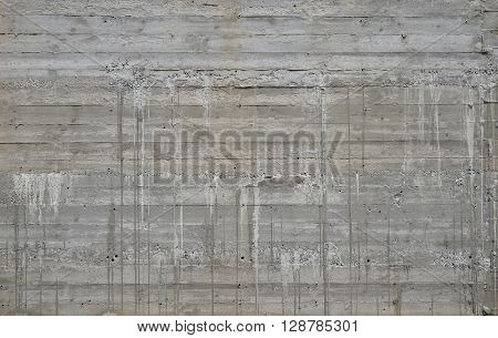 Concrete Wall With Cement Sags And Runs