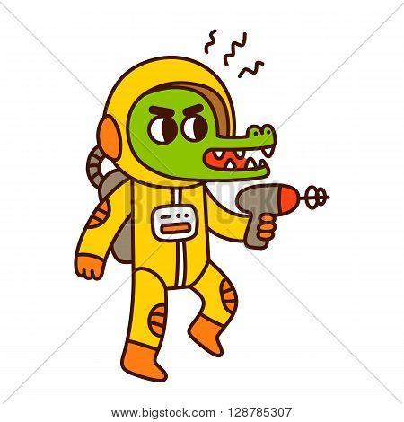 Cute cartoon space crocodile. Funny alien with blaster gun illustration.