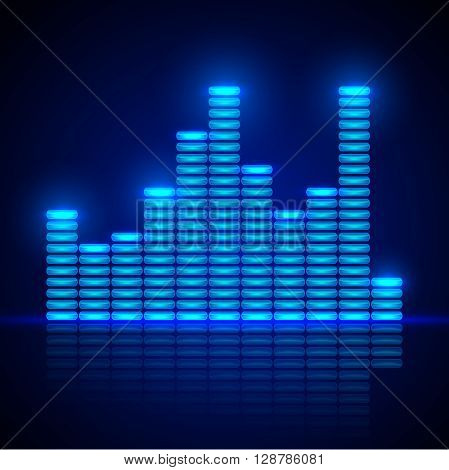 Abstract background with blue equalizer. Equalizer on a dark background.