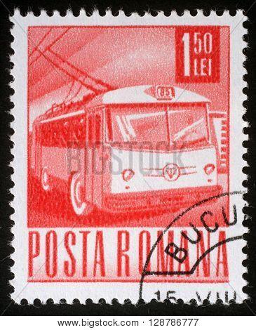 ZAGREB, CROATIA - JULY 18: A stamp printed in Romania shows Trolley bus, circa 1971, on July 18, 2012, Zagreb, Croatia