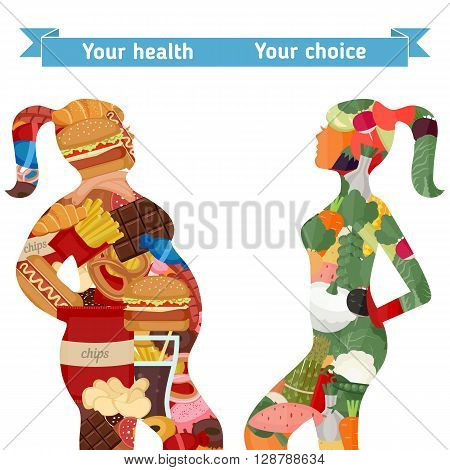Healthy and unhealthy lifestyle concept. Female silhouettes with icons of healthy foods and unhealthy foods. Thick woman and slim woman silhouettes.