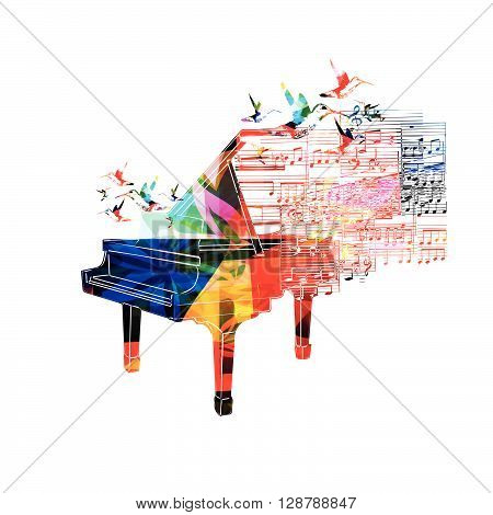 Colorful piano design with hummingbirds. Vector illustration