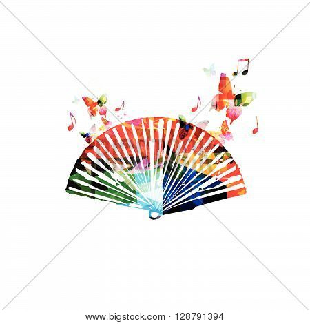 Vector illustration of colorful folding fan with butterflies