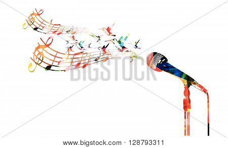 Vector illustration of colorful microphone with hummingbirds