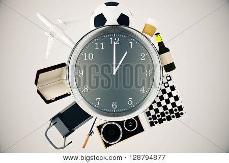 Various items such as treadmill chessboard coffee football and airplane around large clock. Time management concept. 3D Rendering