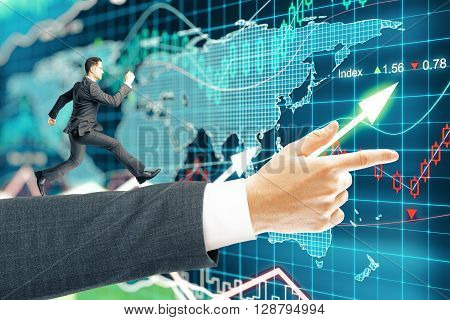 Miniature of businessman running on arm pointing forward on forex background. 3D Rendering