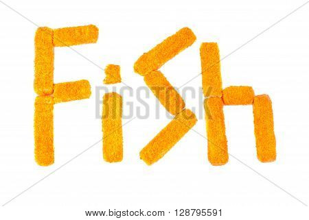 fish sticks on a white background. Word