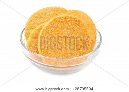 fish burgers on glass bowl isolated on white