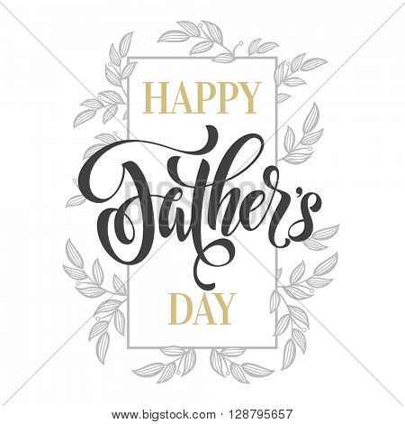Father's Day Gold vector. Fathers Day greeting card title with gold glitter polka dot. Hand drawn Fathers Day gold glitter calligraphy lettering title with flourish pattern. White background.