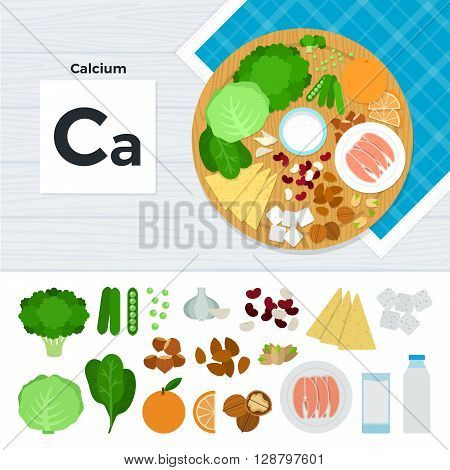 Calcium vector flat illustrations. Foods containing calcium on the table. Source of mineral calcium: cabagge, orange, sugar, nut, fish, milk, garlic isolated on white background