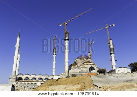 ISTANBUL TURKEY - APRIL 13 2016: New Camlica Mosque Camlica Cami in Turkish. Camlica mosque is still under construction which is the largest mosque yet to be constructed in Turkey located on Camlica hill in Turkey. It is planning to open in 2016.