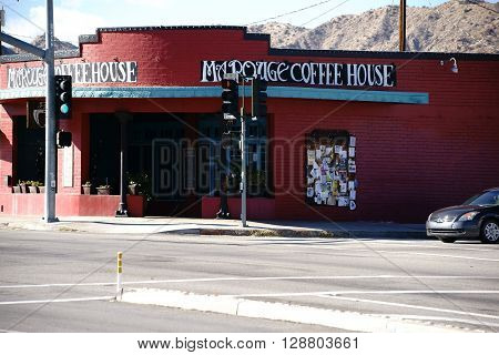 YUCCA VALLEY, UNITED STATES - DECEMBER 24: The facade of an old vintage coffee house in the southwest of California on December 24, 2015 in Yucca Valley.