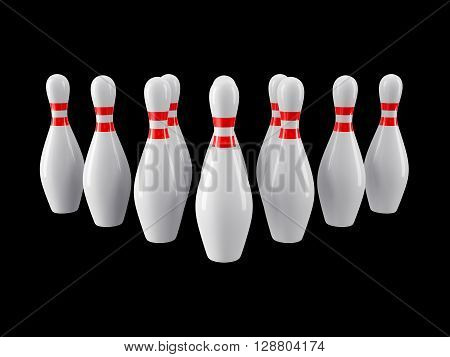 Group of Bowling Pins Isolated on black background without shadow. 3D rendering. For logo, advertising, wallpaper, print etc. Front view with perspective