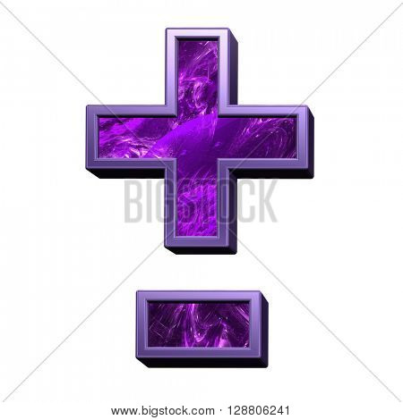 Hyphen, minus, plus marks from purple fractal alphabet set isolated over white. 3D illustration.