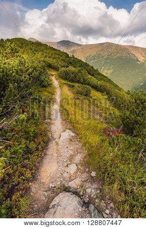 Hiking Trail on the Hill in the Mountains