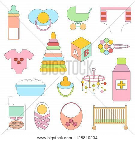Vector newborn goods. Baby shower concept. Newborn goods in cartoon style. Baby care icons. Vector illustration baby design. Isolated newborn icons. Vector baby care concept