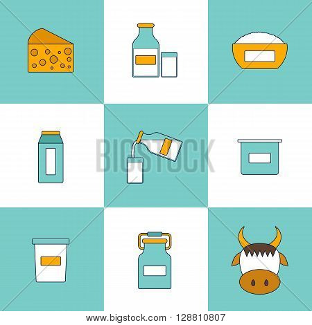 Illustration with dairy milk products. Lactose intolerance concept. Cute line style. Healthy dairy calcium milk products. Fresh farm milk concept. Lactose allergen products illustration