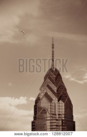 PHILADELPHIA, PENNSYLVANIA - MAR 26: One Liberty Place closeup on March 26, 2015 in Philadelphia. It is the largest city in Pennsylvania and the fifth in the United States.