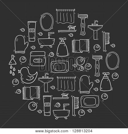 Vector illustration with hand drawn cartoon bathroom background. Circle background with bathroom soap bathroom cosmetics bathroom duck bathroom towel mirror brush. Cartoon cute bathroom concept
